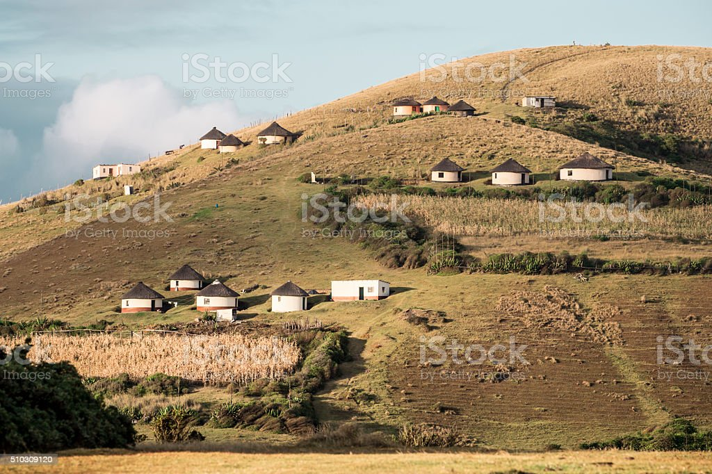 Transkei Rural Huts stock photo