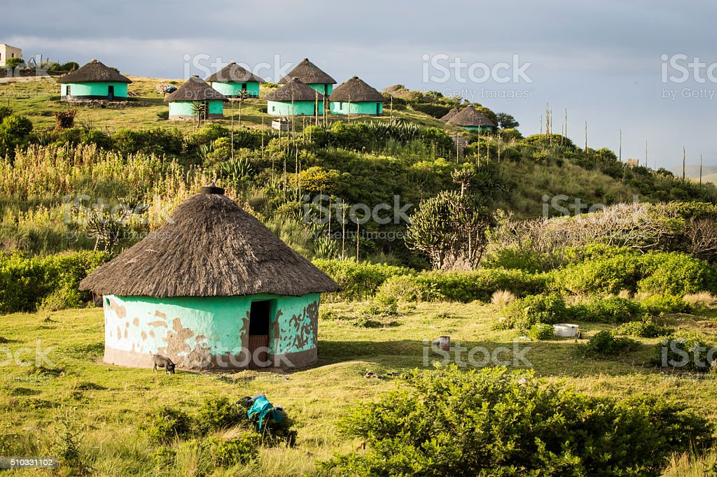 Transkei Rural Huts stock photo