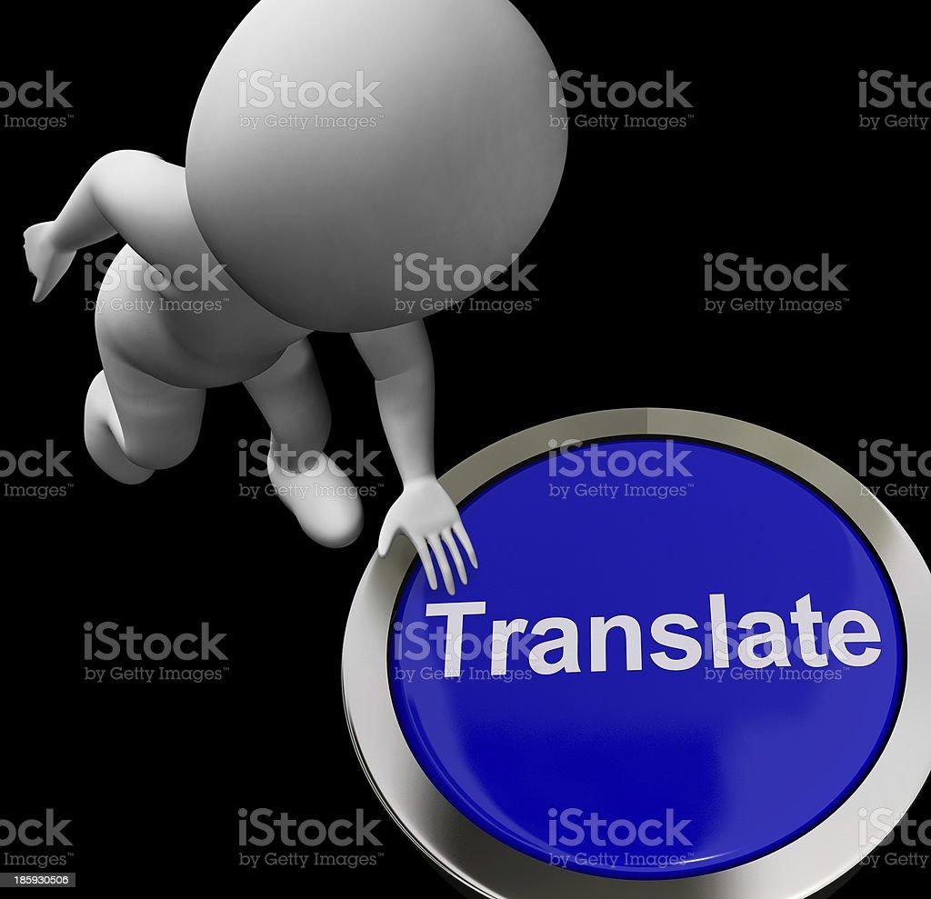 Translate Button Shows Online International Multilingual Transla royalty-free stock photo