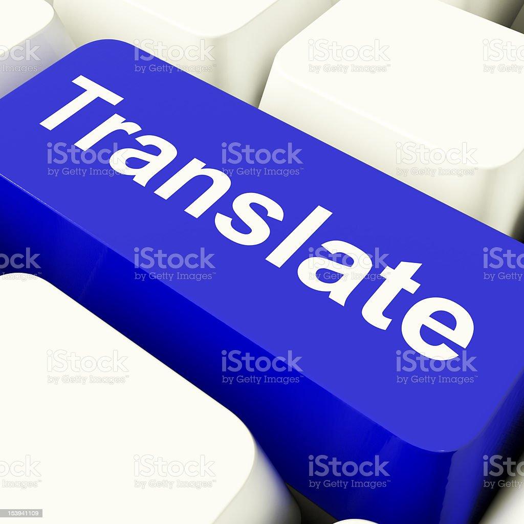 Translate Computer Key In Blue Showing Online Translator stock photo