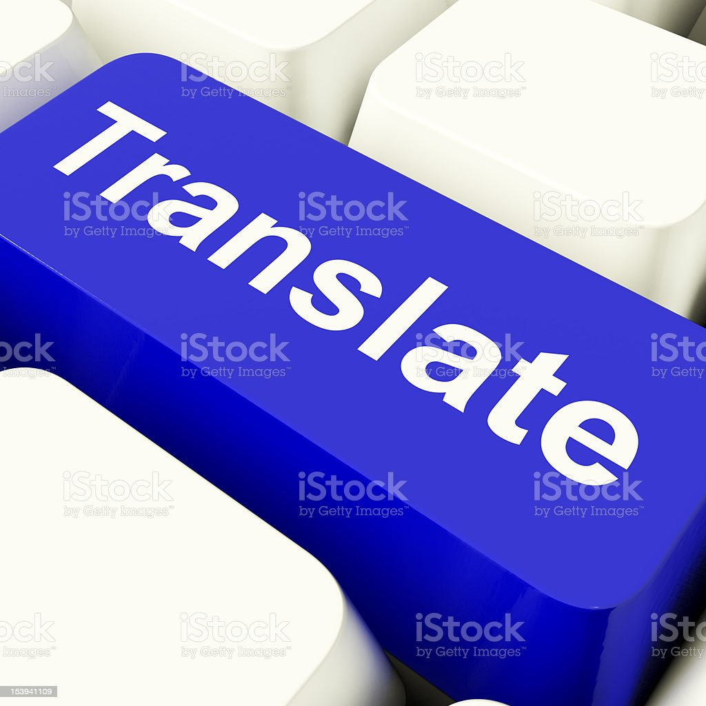 Translate Computer Key In Blue Showing Online Translator stock photo