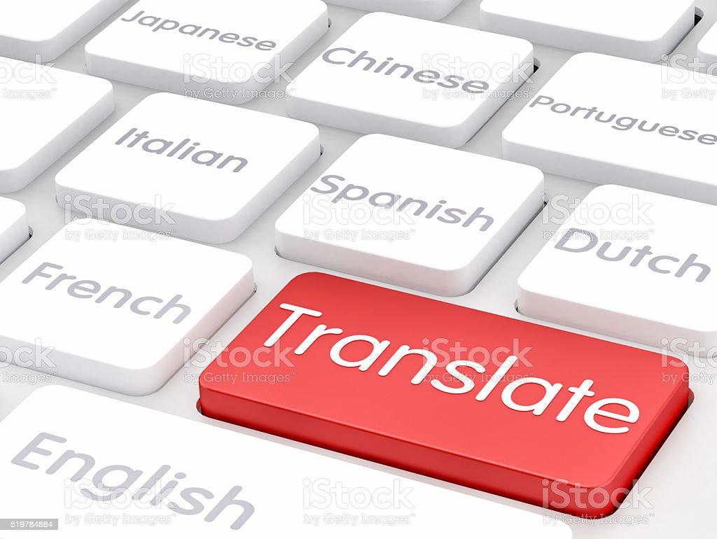 Translate written on keyboard key stock photo