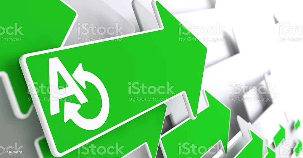 Translating Concept on Green Arrow. royalty-free stock photo