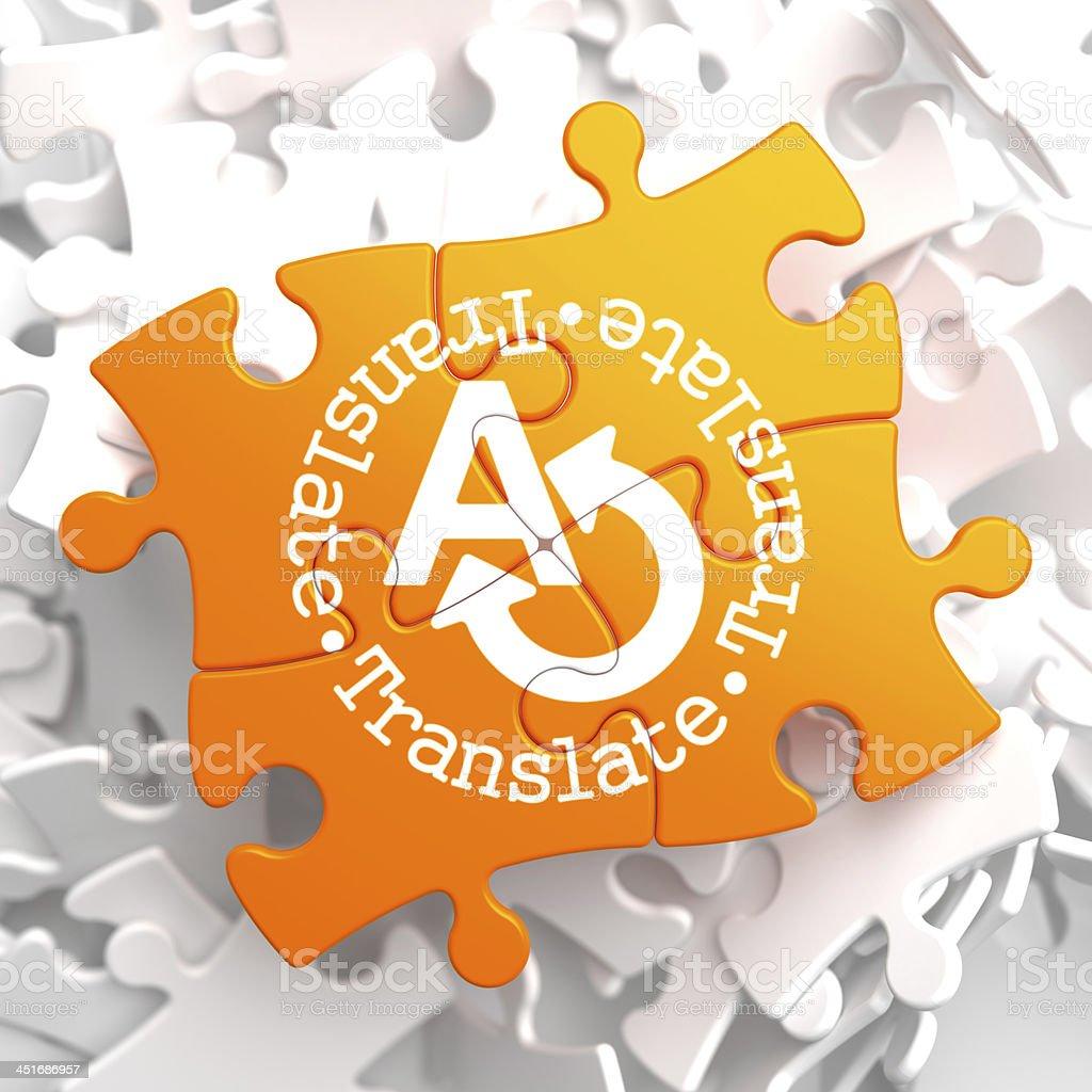 Translating Concept on Orange Puzzle. royalty-free stock photo