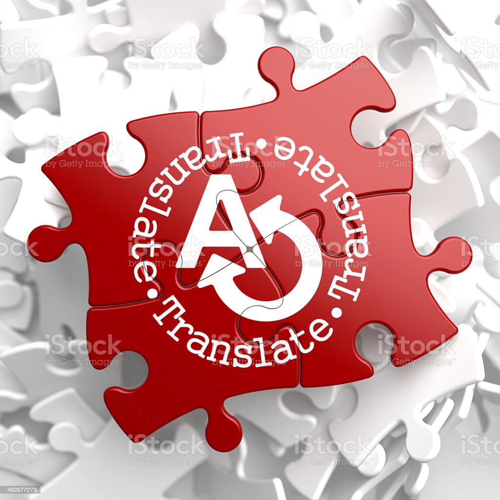 Translating Concept on Red Puzzle. royalty-free stock photo
