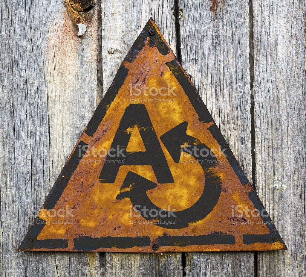 Translating Concept on Weathered Warning Sign. royalty-free stock photo