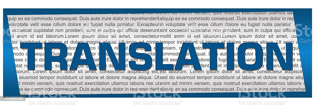 Translation Blue Block stock photo