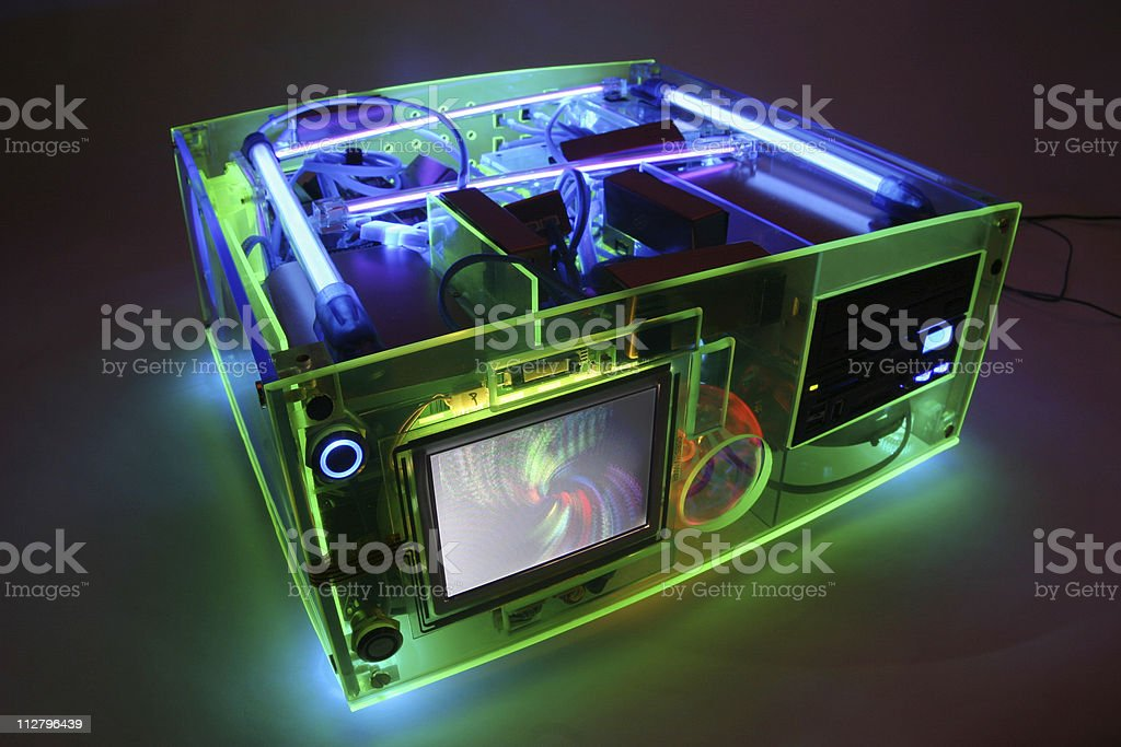 Translucent fluorescent black light  Computer from front royalty-free stock photo