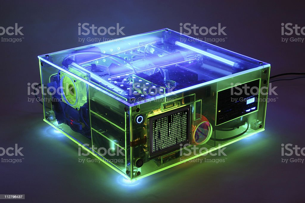 Translucent fluorescent black light look Computer from side wide royalty-free stock photo