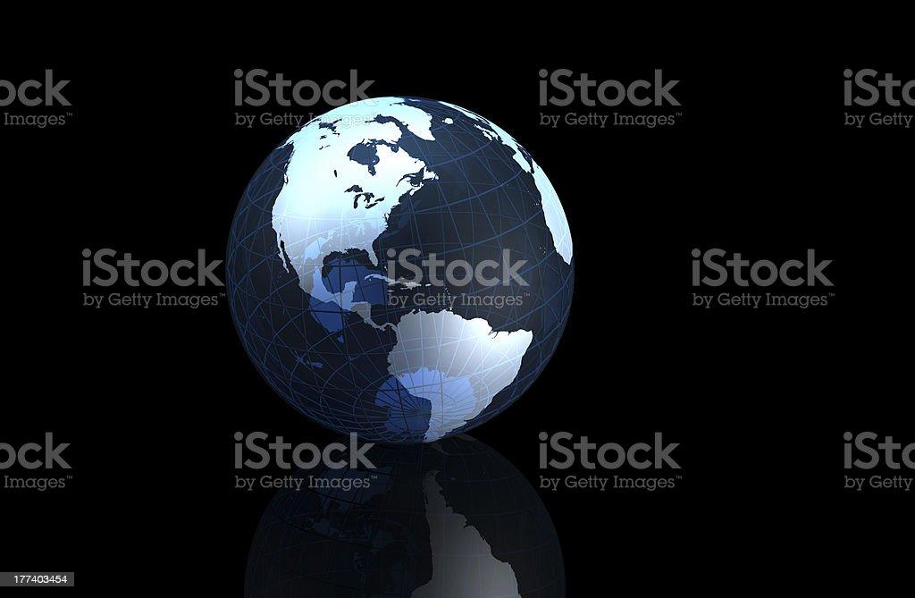 Translucent vector globe image on black with reflection royalty-free stock photo
