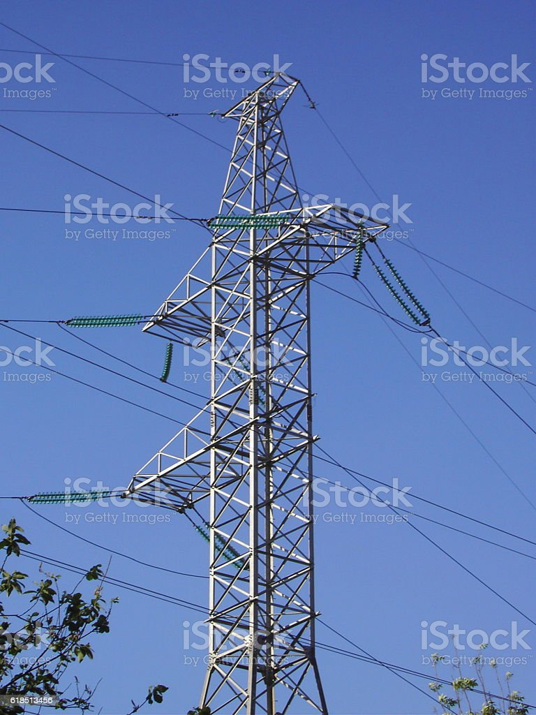 transmission equipment on blue sky stock photo
