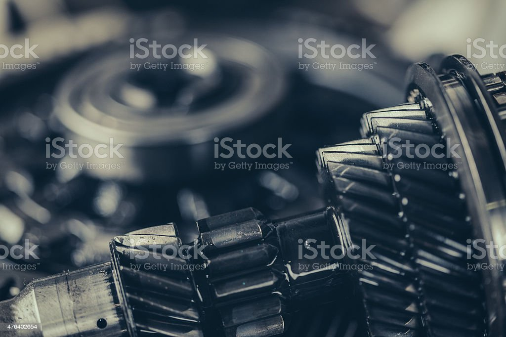 Transmission gearbox closeup stock photo