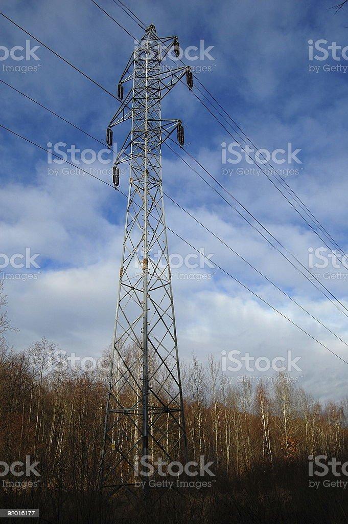 Transmission  line pole stock photo