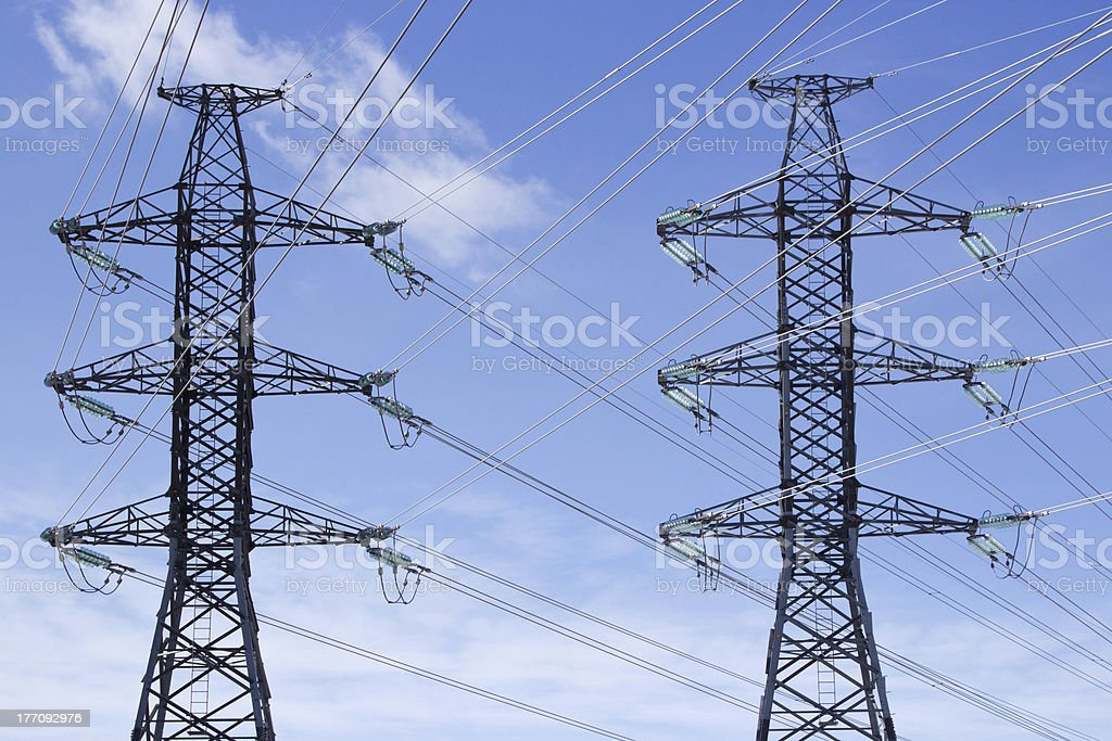 Transmission power lines royalty-free stock photo