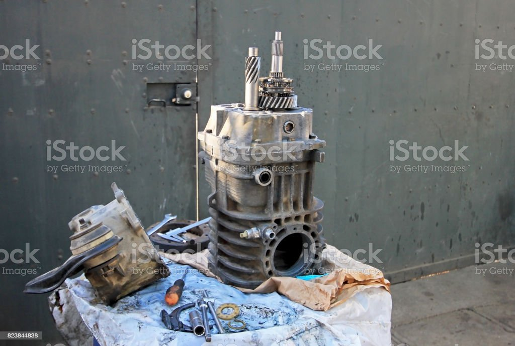 Transmission repair of an old german vintage van in Chile stock photo