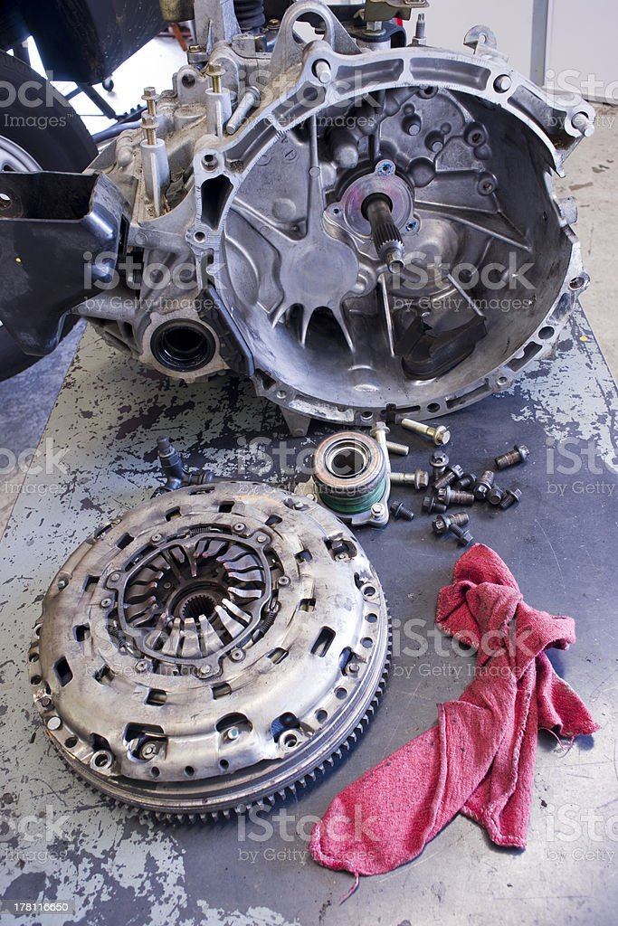 Transmission Torque Converter Table Cloth Pilot Bearing Bolts Auto Repair royalty-free stock photo
