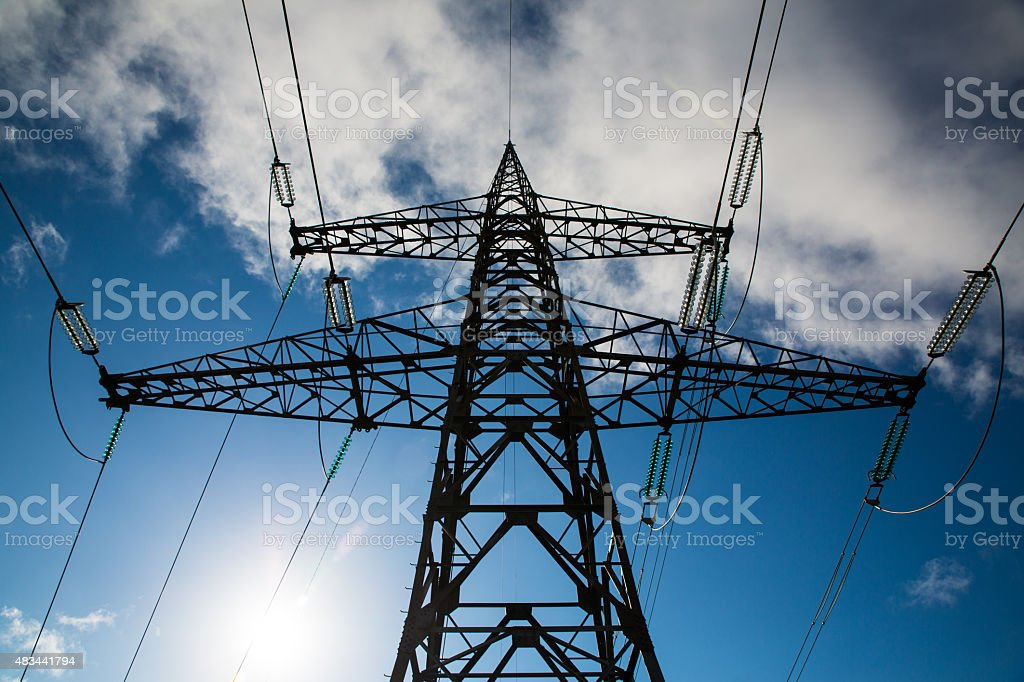 Transmission tower silhouette stock photo