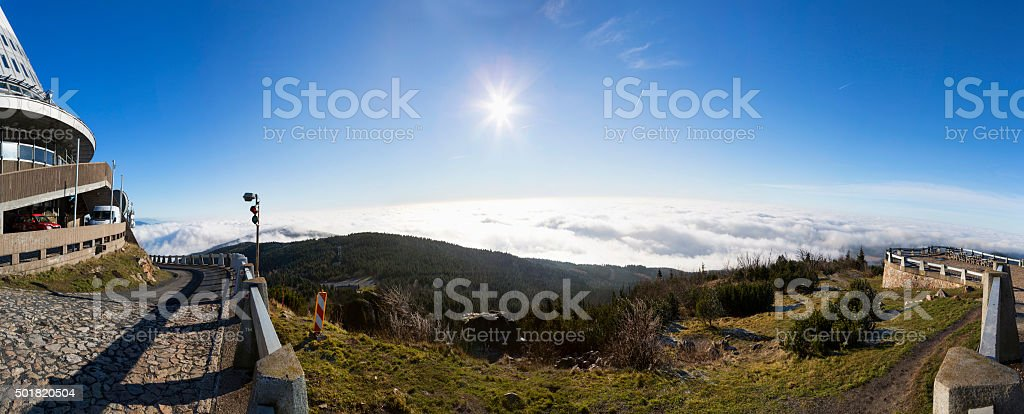 Transmitter and lookout tower on the hill Jested. stock photo