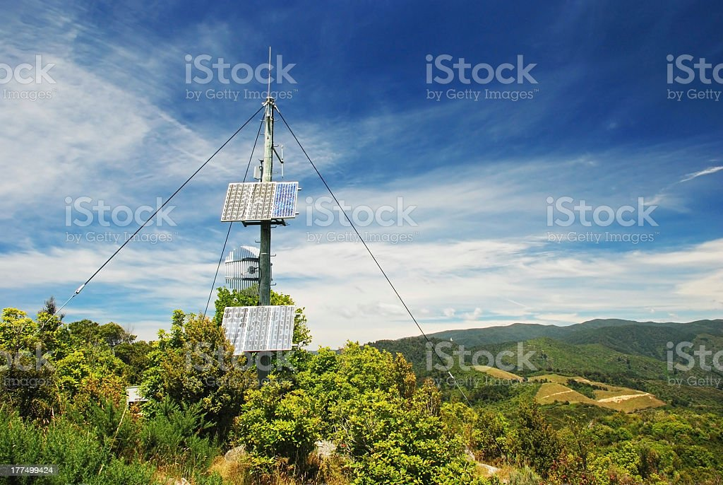 Transmitter in the mountains stock photo