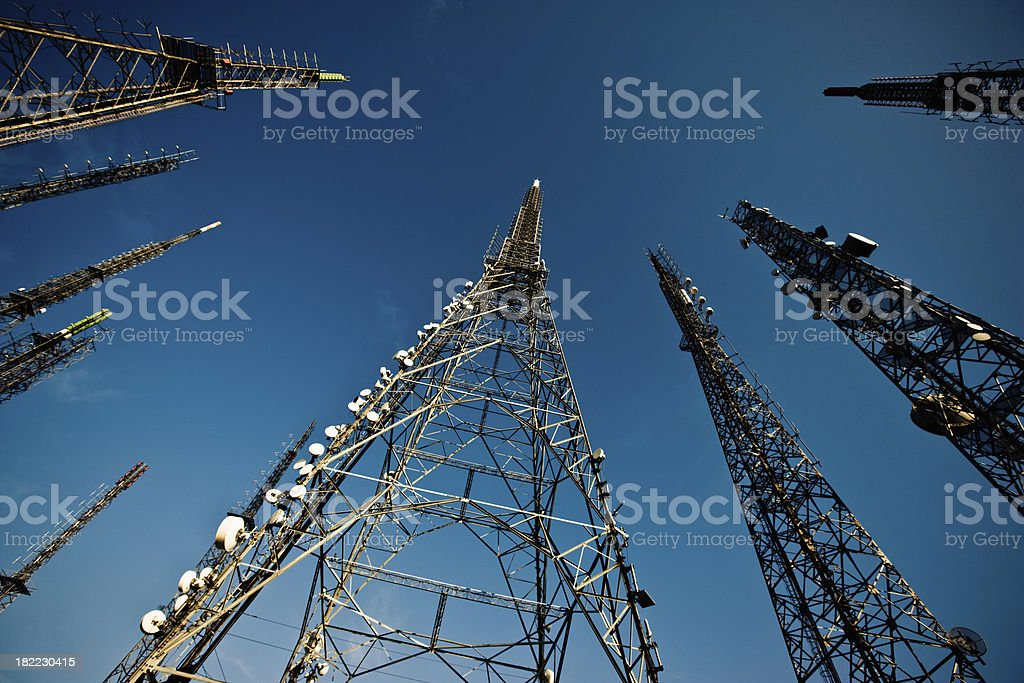 Transmitters in the Sky stock photo