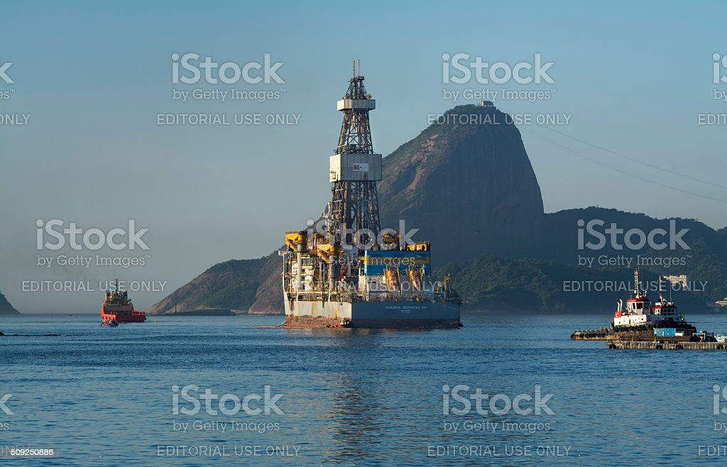 Transocean drillship and the Sugar Loaf stock photo