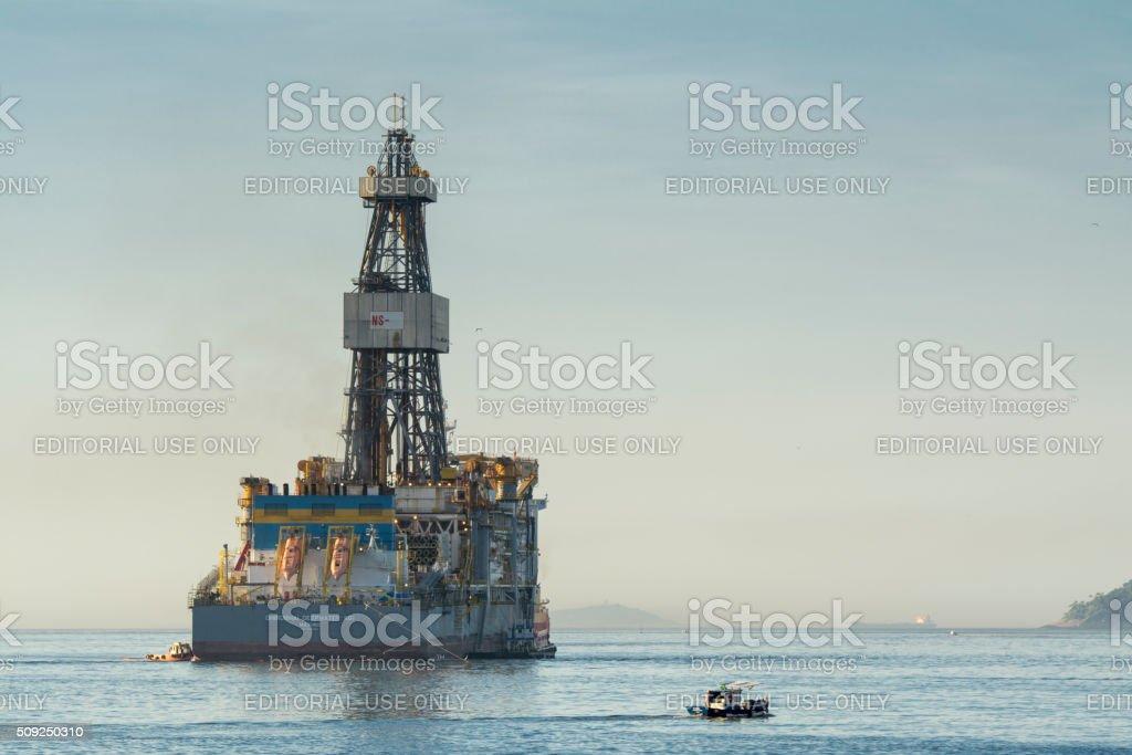 Transocean drillship at the entrance of Guanabara Bay stock photo