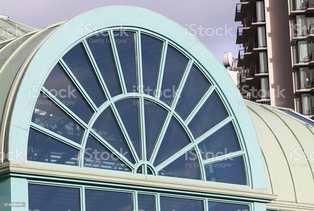 Transom Light Above A Large Doorway stock photo