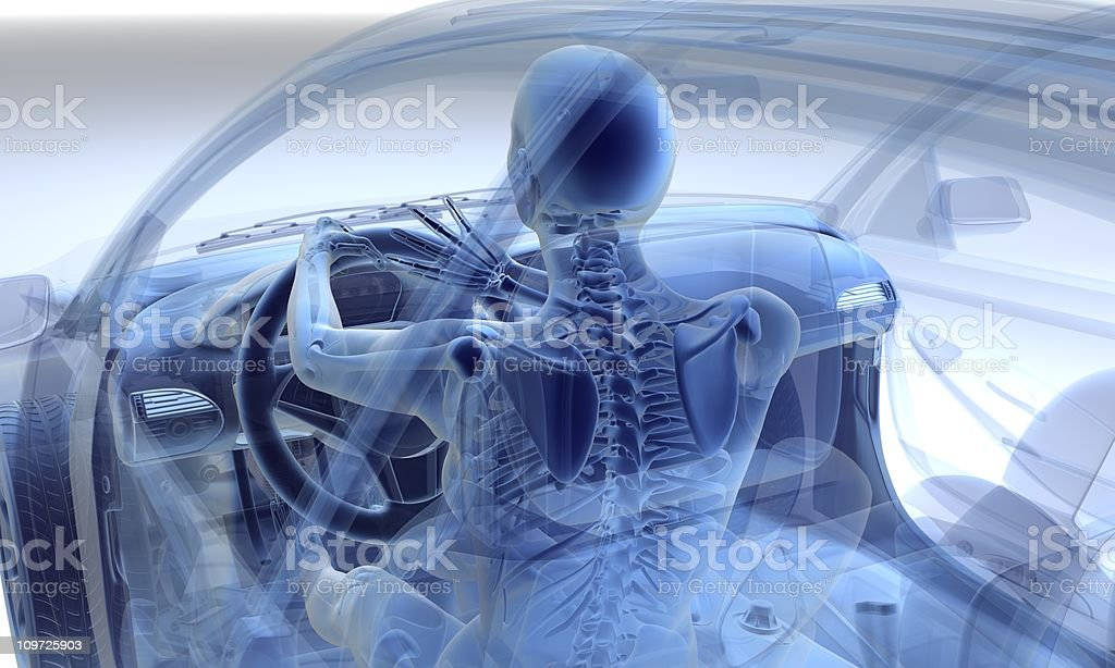 Transparency of woman driving in a car stock photo