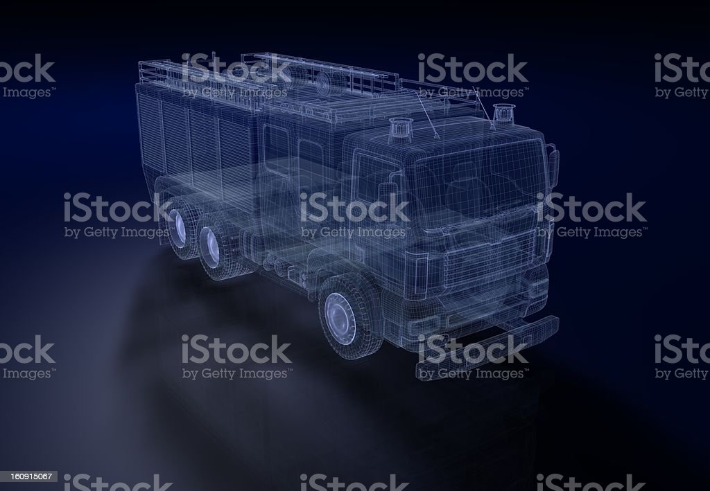 A transparent 3D computer graphic of a fire engine stock photo