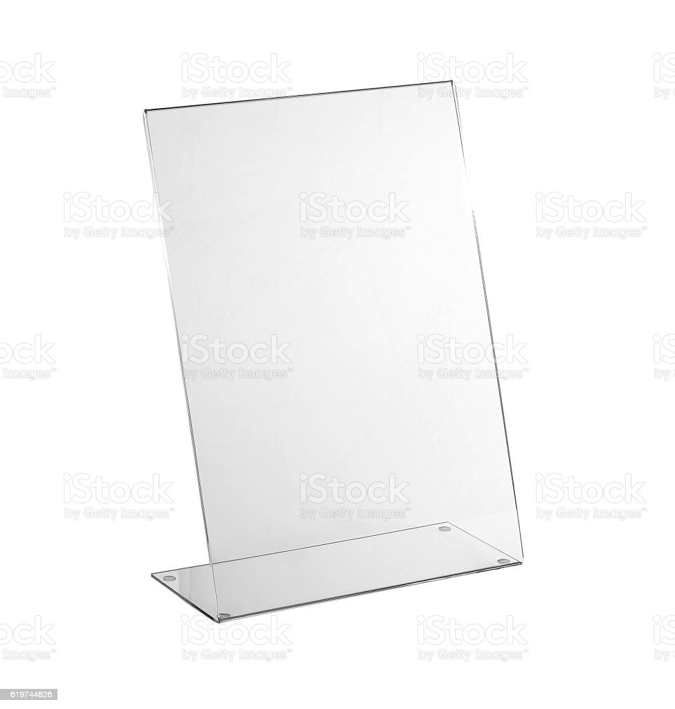 Transparent acrylic table stand display for menu isolated, white background stock photo