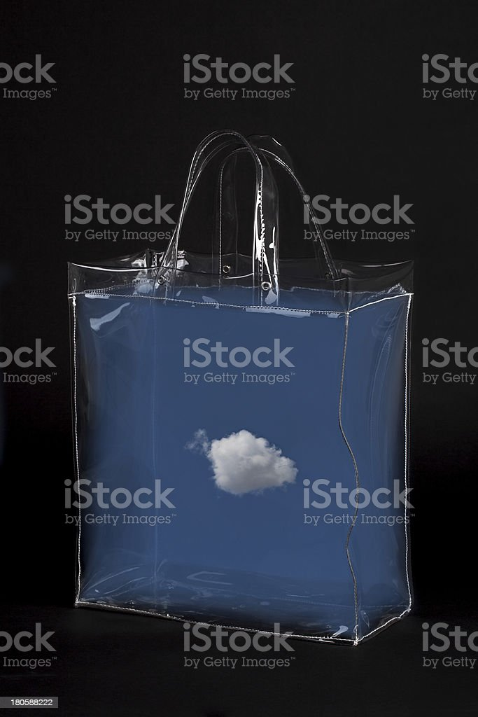 Transparent Bag With a Cloud on Black royalty-free stock photo