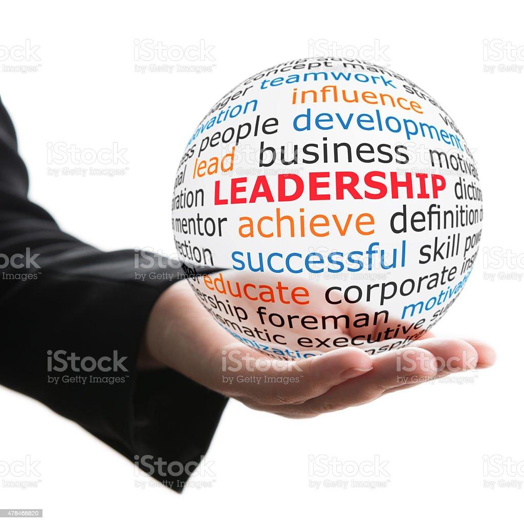 Transparent ball with inscription leadership stock photo