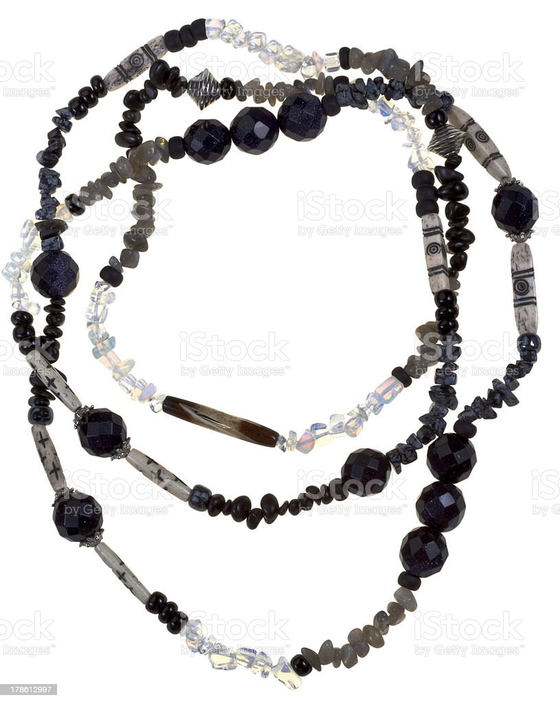 transparent ,  black stone and bone necklace stock photo