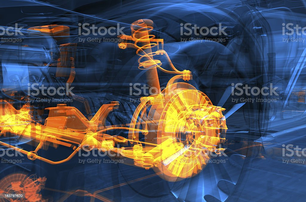 transparent blue car with glowing engine stock photo