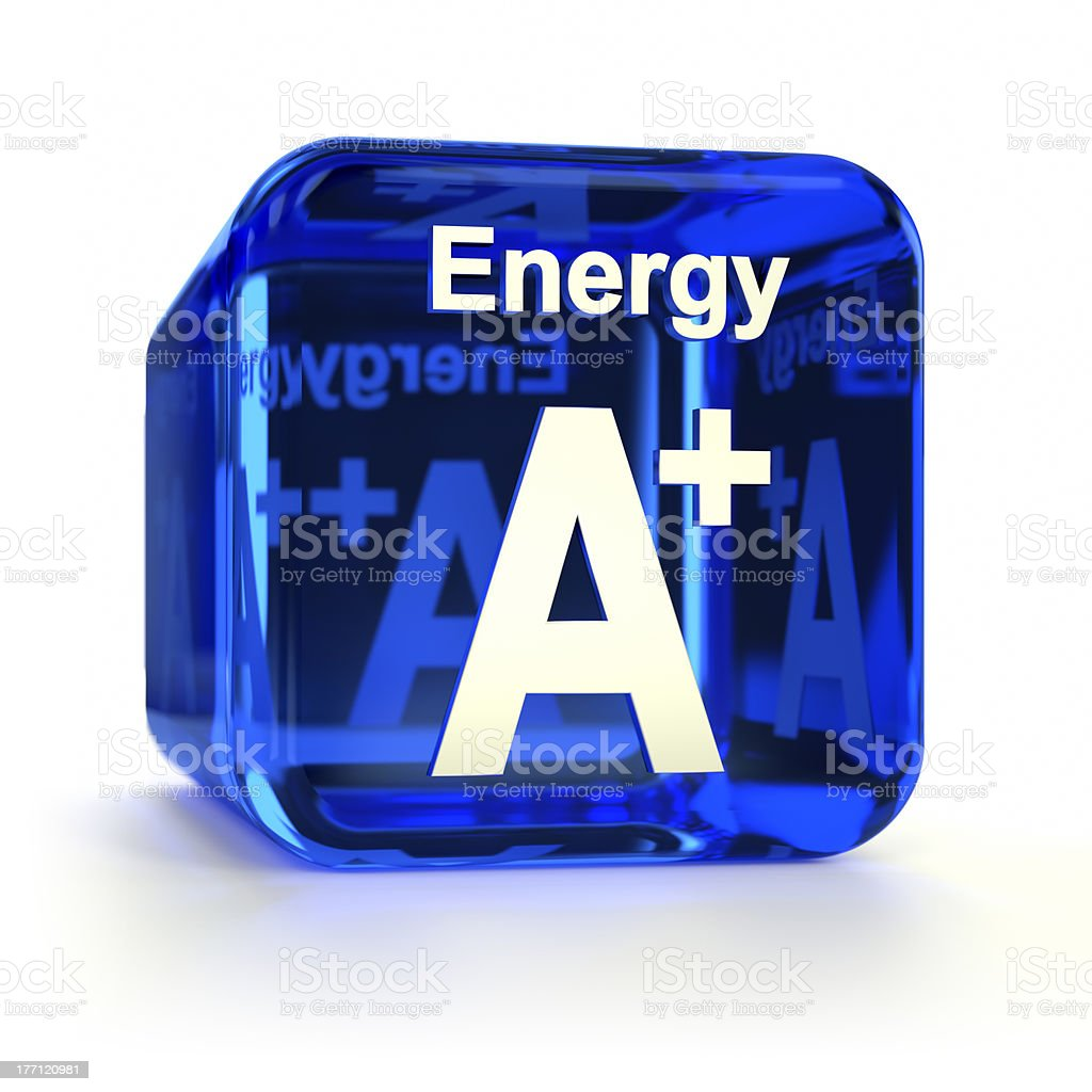 Transparent blue energy efficiency A+ rating cube stock photo