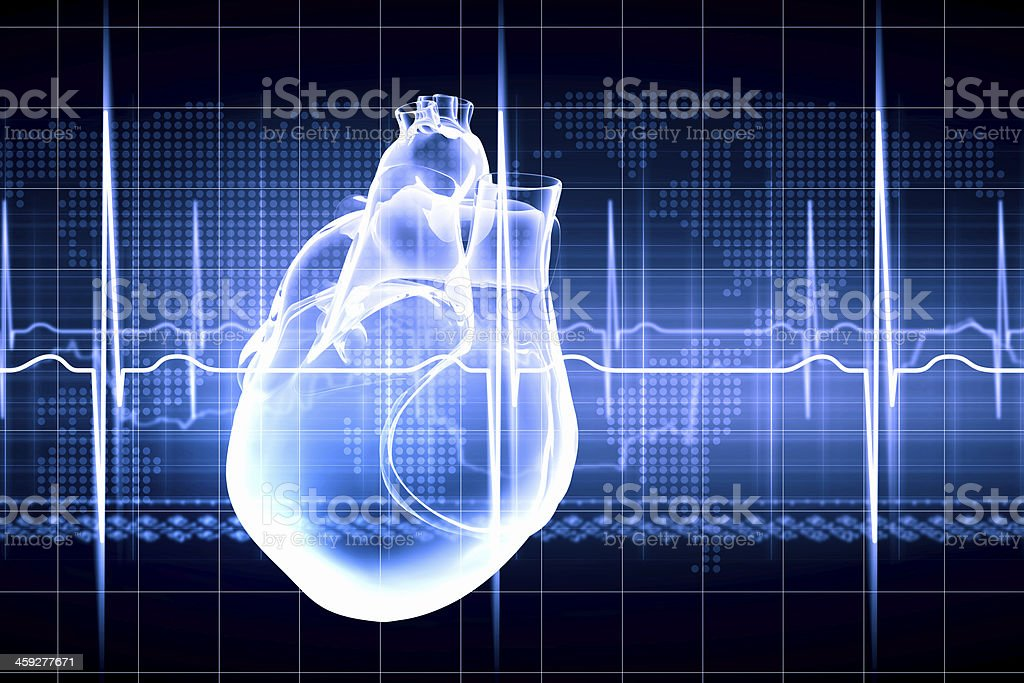 Transparent blue image of human heart with monitored beat stock photo
