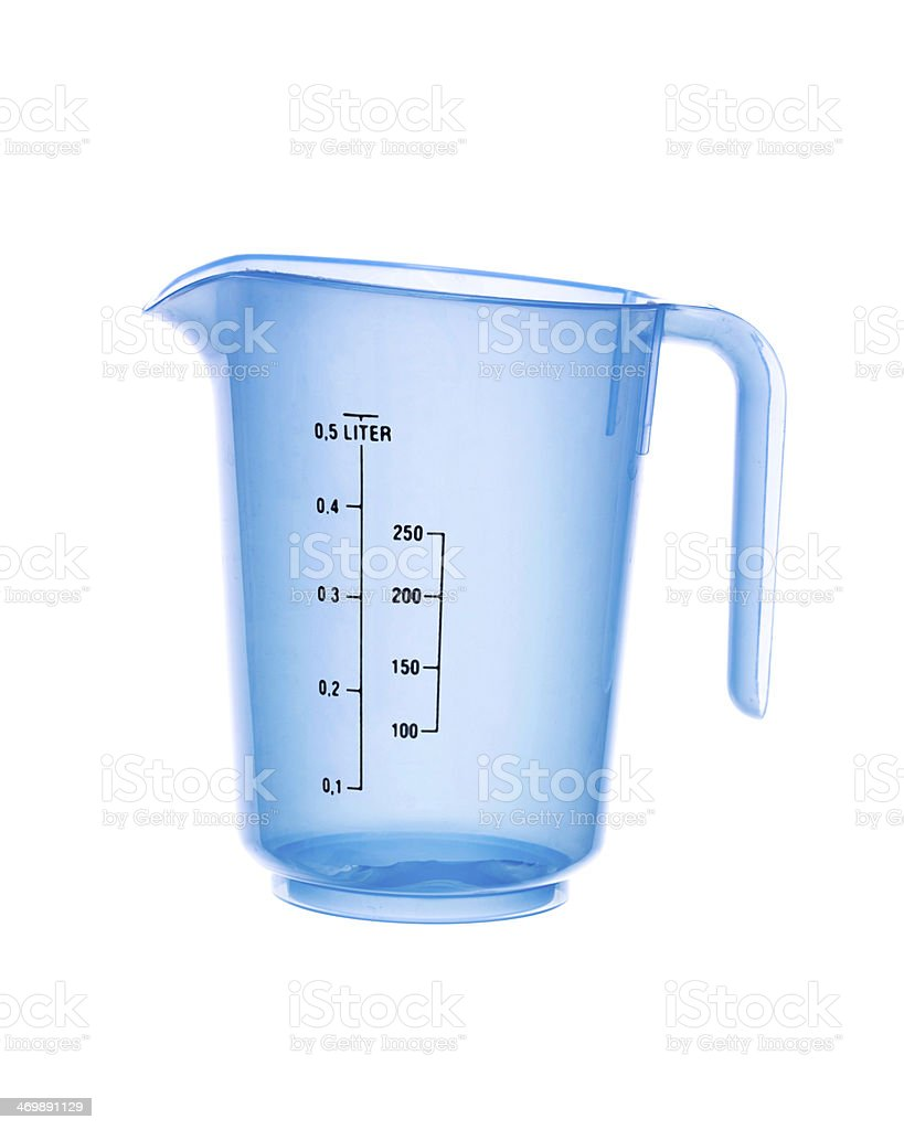 Transparent blue Measuring Beaker isolated stock photo