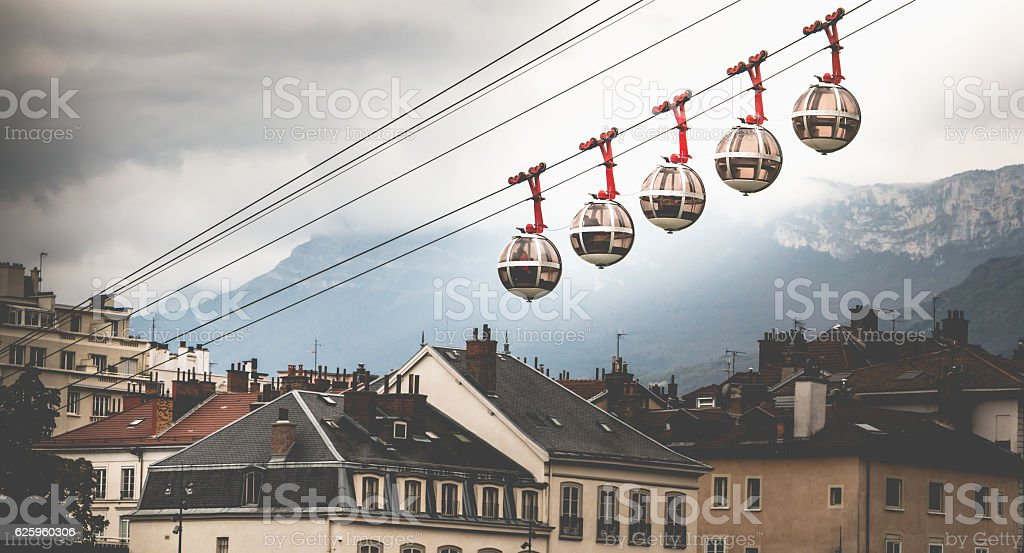 transparent cable cars stock photo