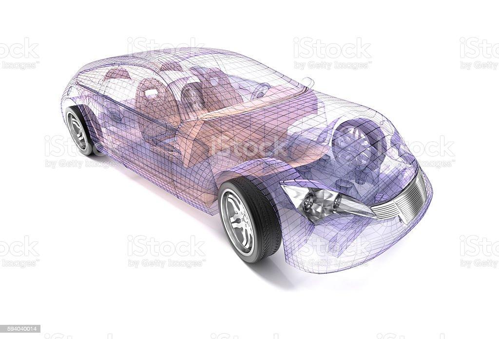 Transparent car design, wire model.3D illustration. My own car design. stock photo