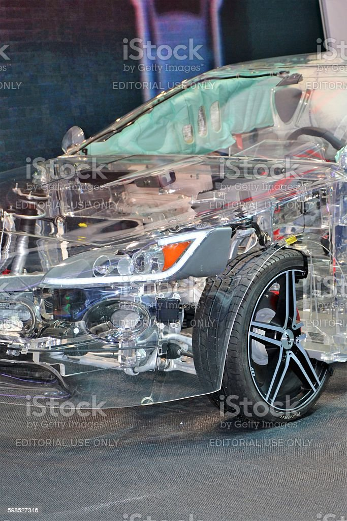 Transparent car in the showroom stock photo