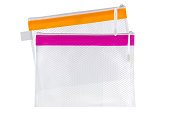 Transparent clear Plastic PVC net bag isolated on white background
