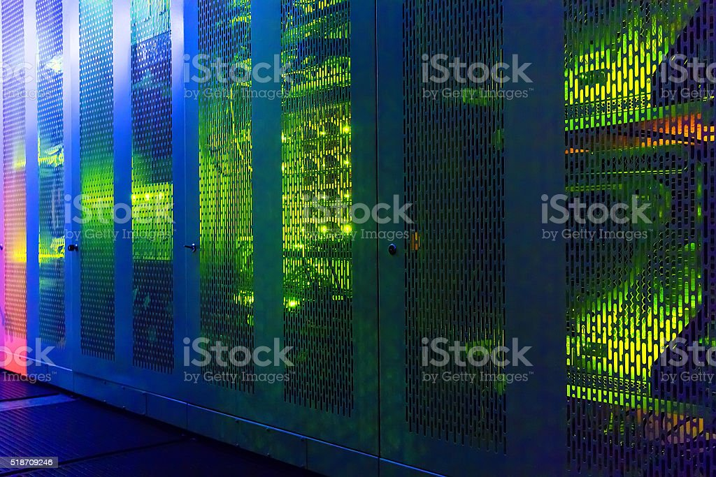transparent communication equipment cabinets with lighting stock photo