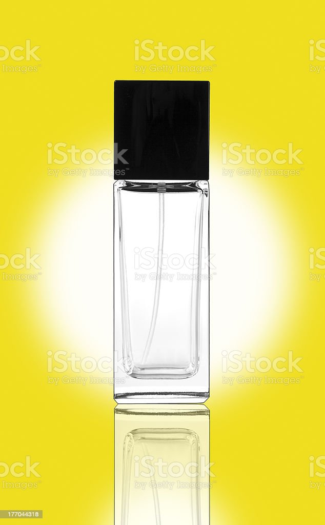 Transparent container on yellow royalty-free stock photo