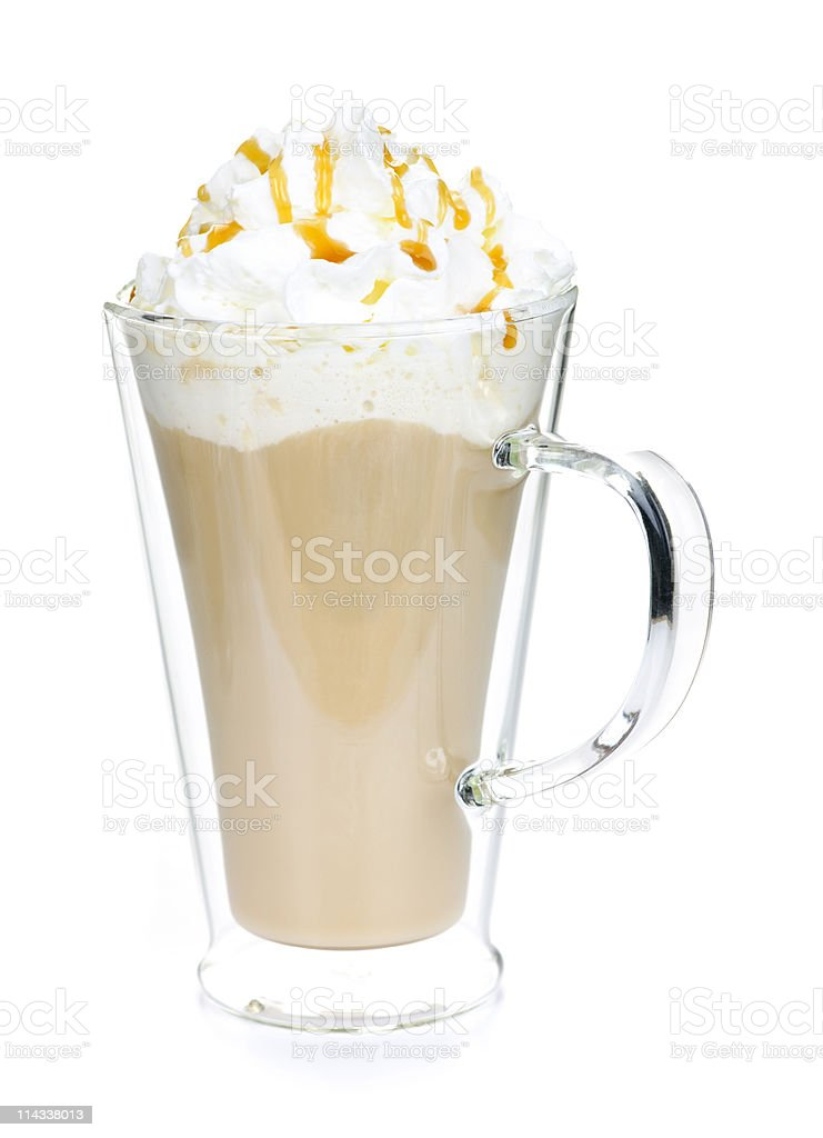Transparent cup with caffe latte coffee stock photo