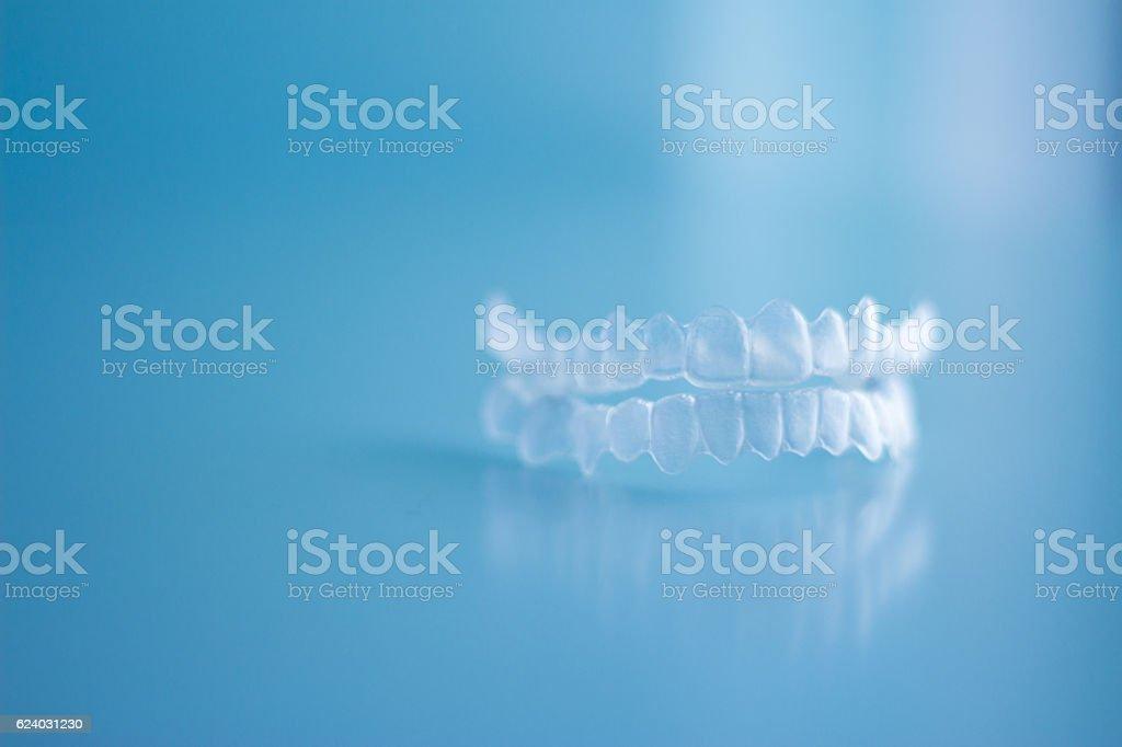 Transparent dental orthodontics stock photo