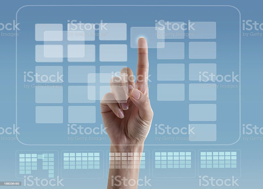 Transparent Digital projection Touch  Screen stock photo