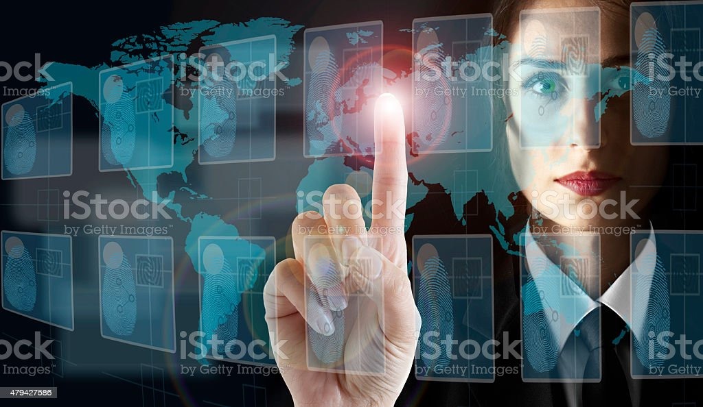 Transparent Digital Touch Screen interface stock photo