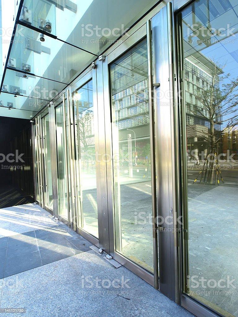 Transparent door and sunlight stock photo