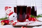 Transparent drink of pomegranate