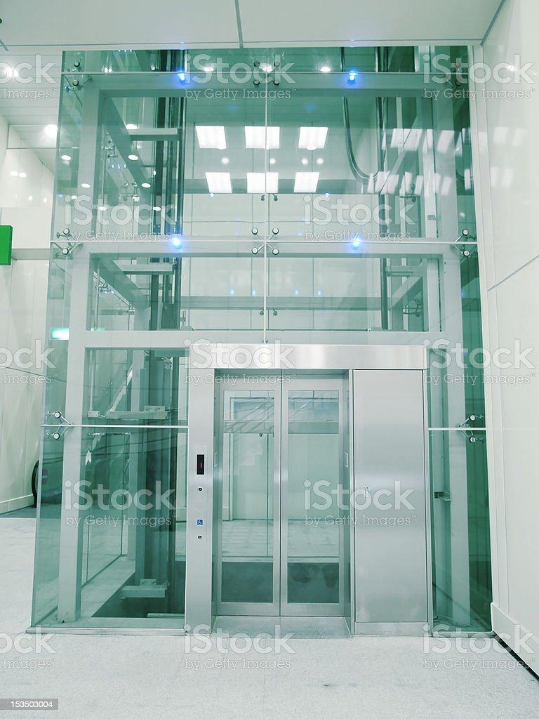 Transparent elevator stock photo
